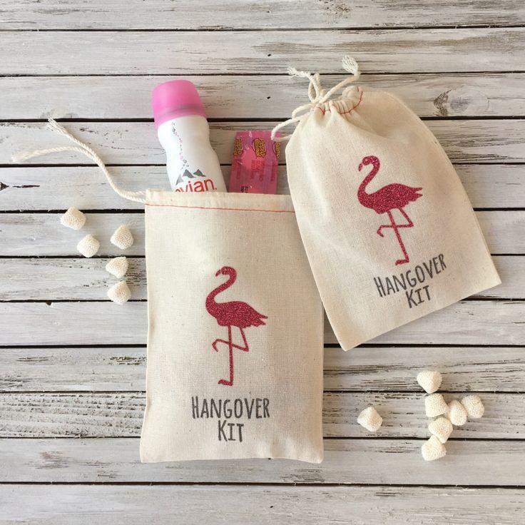 Flamingo Hangover Kit Bags - Glitter Flamingo Part…