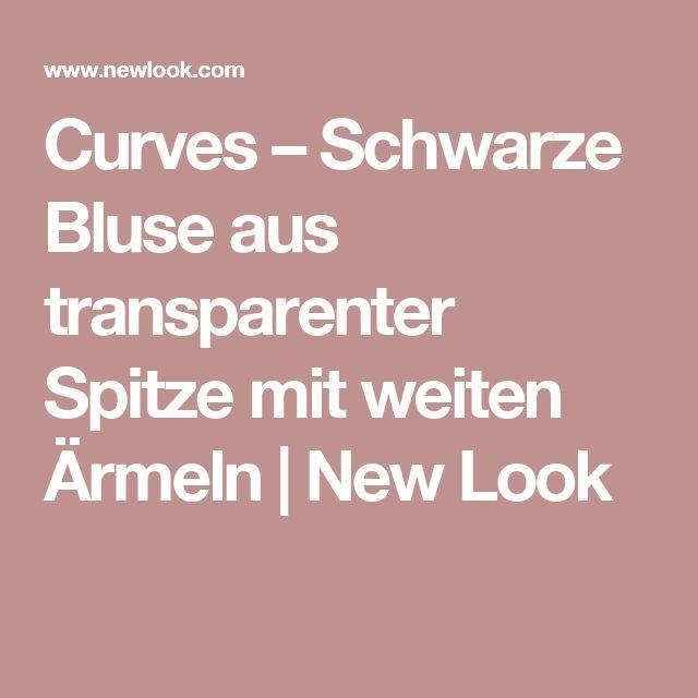Curves – Schwarze Bluse aus transparenter Spitze mit weiten Ärmeln | New Look