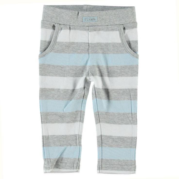 Tricot broekje in grijsmelee, wit en lichtblauw van Feetje | Olliewood