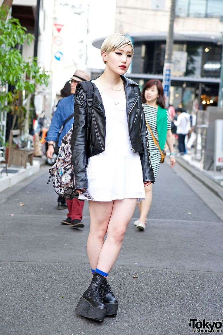 Stussy Women Biker Jacket, H&M Dress & Eastpak Rucksack in Harajuku Harajuku Girl in Black and White – Tokyo Fashion News