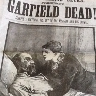 A picture from the Police Gazette, showing a dying President Garfield being comforted by his wife.