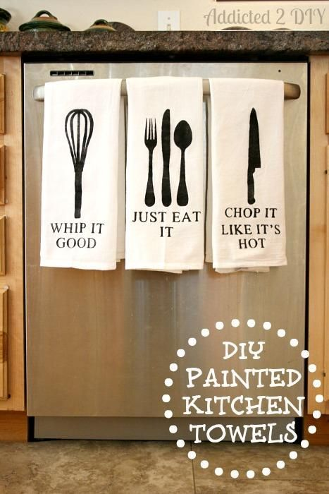 DIY Painted Kitchen Towels so cute!!! Would make a good house warming gift