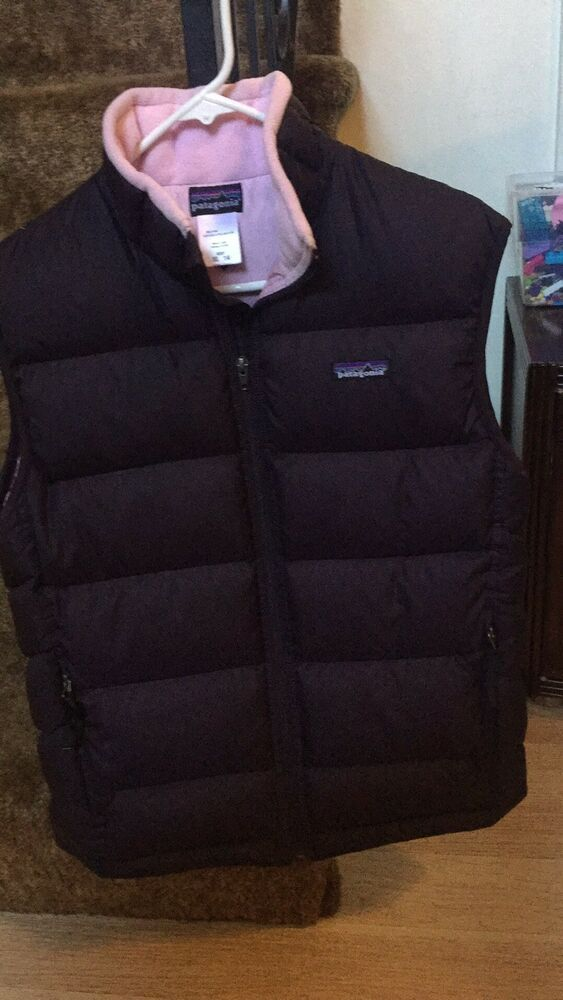 0b3ecad2f Patagonia Girls' Down Sweater Vest XL (14) Maroon And Light Pink ...