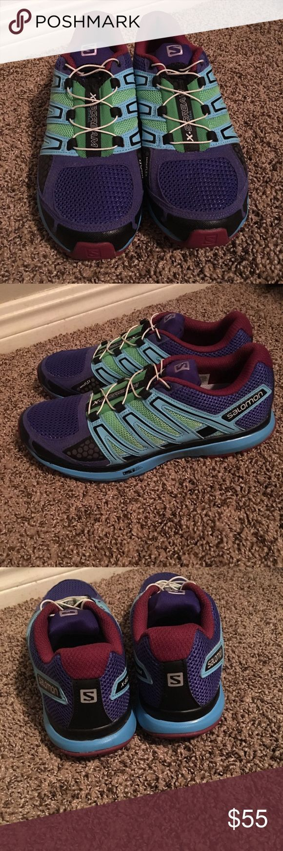 Salomon X-Scream City Trail Women's Sz. 8.5 Salomon X-Scream City Trail Women's Sz. 8.5.  Excellent condition.  Basically brand new.  Worn once, indoors.  Purple, magenta, sky blue, lime green, black with white laces.  Adjustable laces with pull- cord  that tucks in tongue of shoe. Salomon Shoes Athletic Shoes