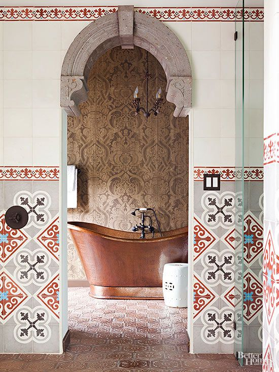 Moroccan accents and curvaceous elements bring for Kacheln mediterran