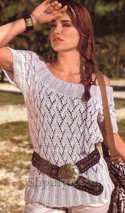 Ажурный пуловер с широкой планкой, вязаный спицами