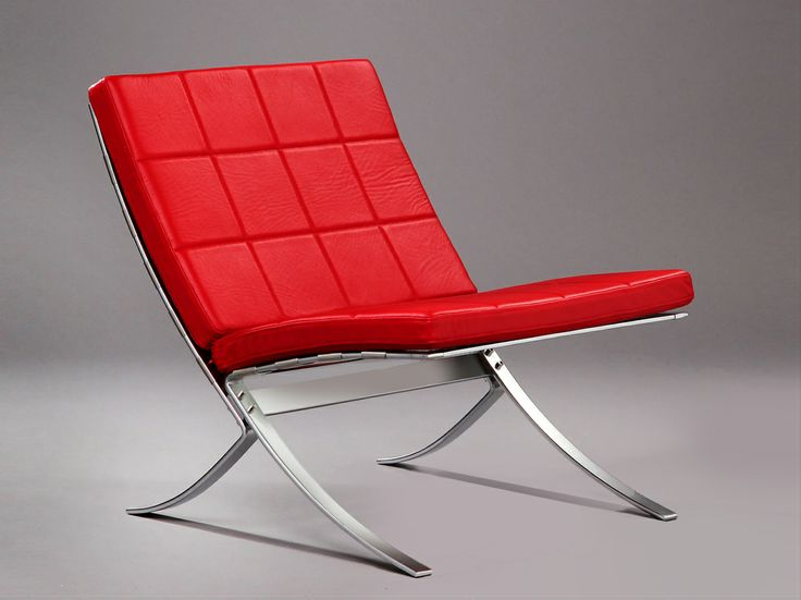 Red Lounge chair -STEEL-LINE – with or with out armrests. Designed in 1968, Produced by Terrexart, Copenhagen, Denmark.  CHAIR – Frame of chromium plated spring steel with aniline leather down filled cushions. The chairs can be assembled as sofa groups with a locking device. SALOON CHAIR – frame of chromium plated spring steel and covered with 3mm thick leather on front and back.