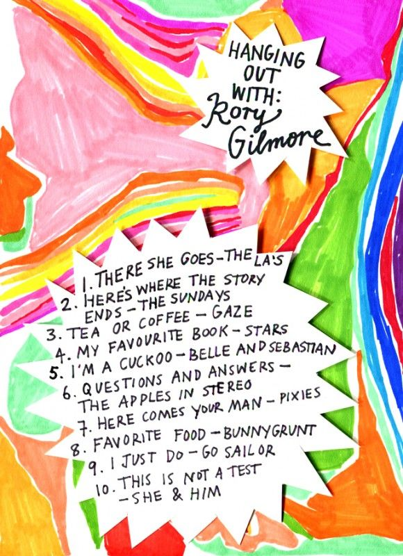 Rookie Mag, Friday Playlist - Hanging out with Rory Gilmore, Illustration by Minna.