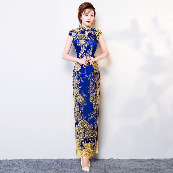 Long Traditional Chinese Dress Cheongsam Modern Qipao 2017 Fashion Blue Lace Vestido Oriental Style Party Dresses Wedding Gowns Click visit for check price #apparel #worldapparel