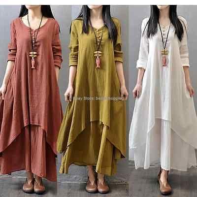 Women Casual Cotton Linen Long Sleeve A-line Shirt Loose V-neck Layer Long Dress