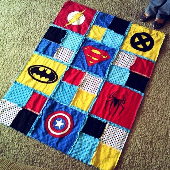 Love this Super hero blanket! Maybe we could use old shirts?
