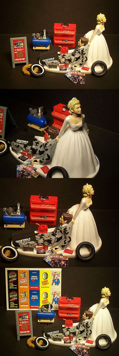 Wedding Cakes Toppers: Auto Mechanic Wedding Cake Topper Bride And Groom Gray Suit Set Tire Tools Funny B -> BUY IT NOW ONLY: $76.99 on eBay!
