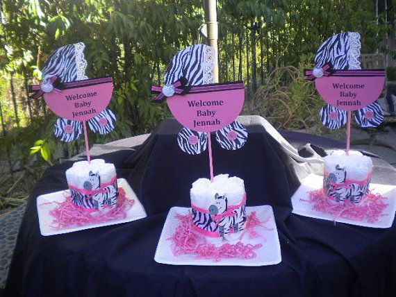 3 Personalized Bassinets Centerpieces Baby Shower Jungle, Safari, Zebra  Leopard Theme