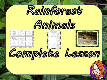 Complete Lesson on Identifying the Animals in the RainforestsThis download includes a complete lesson on the animals which live in the rainforest. The lesson focuses on learning the facts about some of the strange rainforest animals and recognising them.