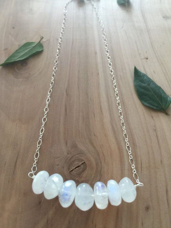 Rainbow Moonstone necklace  gemstone by inlovewithnowjewelry