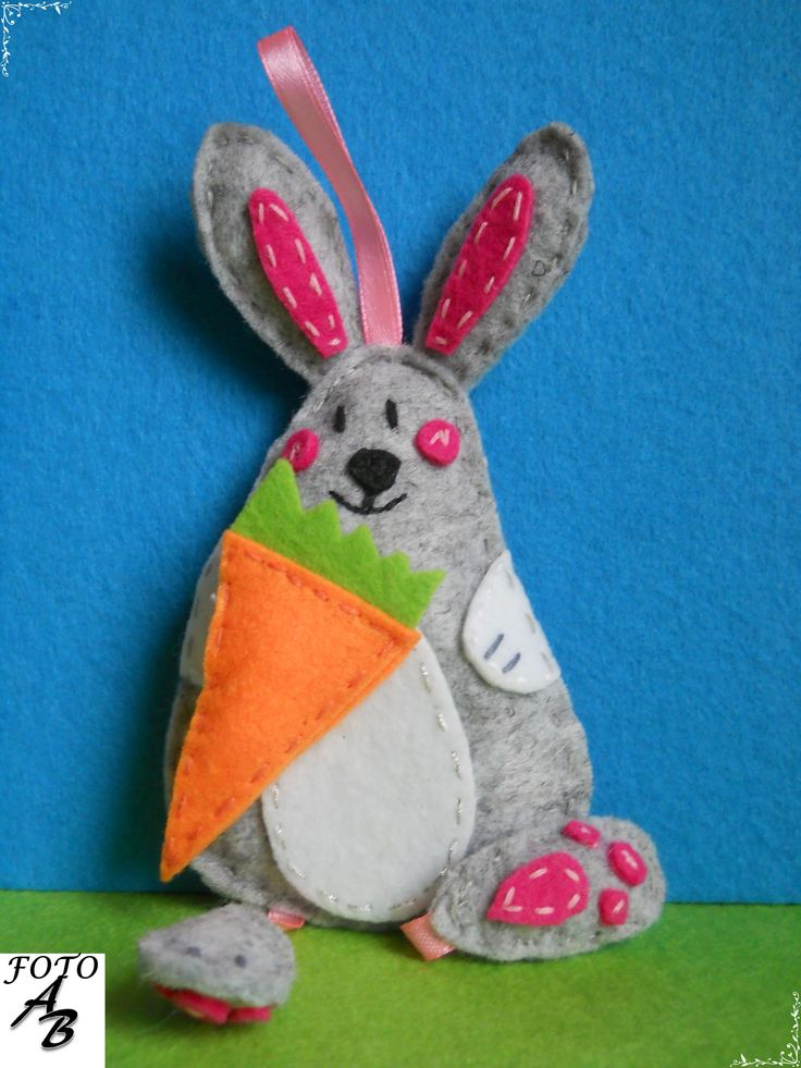 Bunny with carrot felt / Królik z marchewką filc