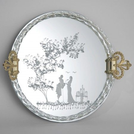 Authentic #venetian tray in #Murano #glass #mirror worked exclusively by hand with the ancient art of #Murano #glass masters. Each mirror comes with certificate of authenticity.   Each product  is shipped with 100% INSURED EXPRESS COURIER .