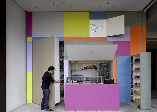 Gourmet tea Shop in São Paulo folds out from the wall! WOA kinetic micro shops?Sao Paulo, Shops Cafes Restaurants, Gourmet Teas, Teas Shops, Interiors Design, Alan Chu, Saopaulo, Retail, Interiors Ideas