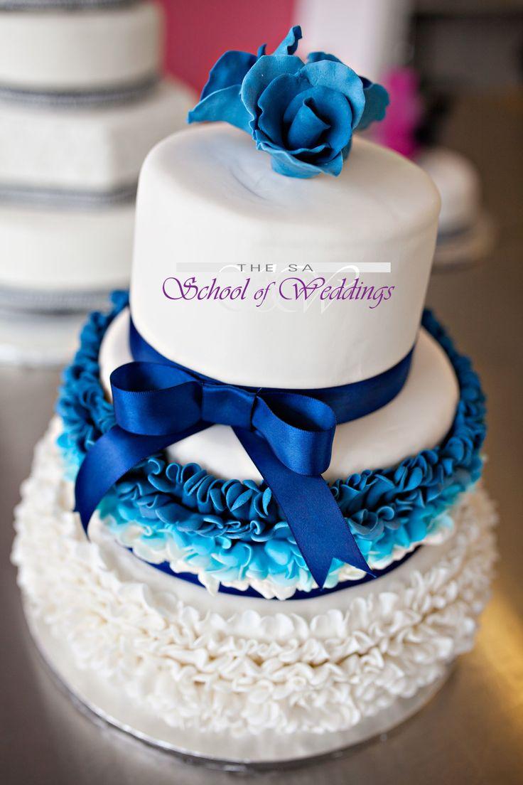 Blue & White ombre Wedding cake www.saschoolofweddings.co.za