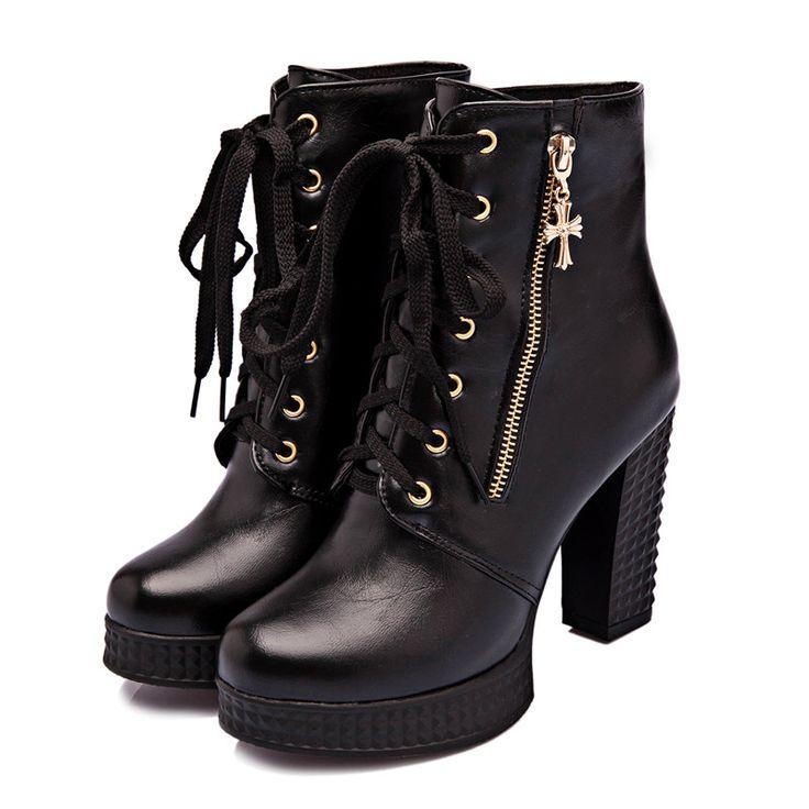 Stylish zipper cross thick high heel boots