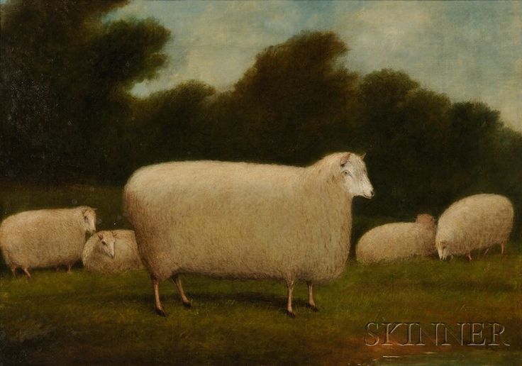 AMERICAN FURNITURE & DECORATIVE ARTS - SALE 2608M - LOT 1283 - ANGLO-AMERICAN SCHOOL, 19TH CENTURY SHEEP IN A PASTORAL LANDSCAPE. UNSIGNED. OIL ON CANVAS, 17 X 24 IN., IN A BIRD'S-EYE MAPLE VENEE.. - Skinner Inc