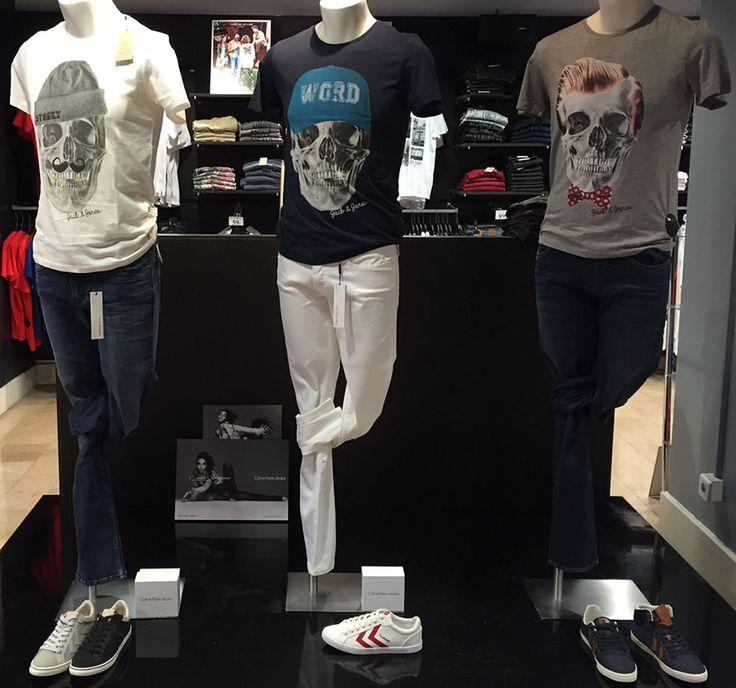 Un podium composé de 3 look Homme avec des tee-shirts Tête de mort de la marque Jack and Jones et des jeans délavés !