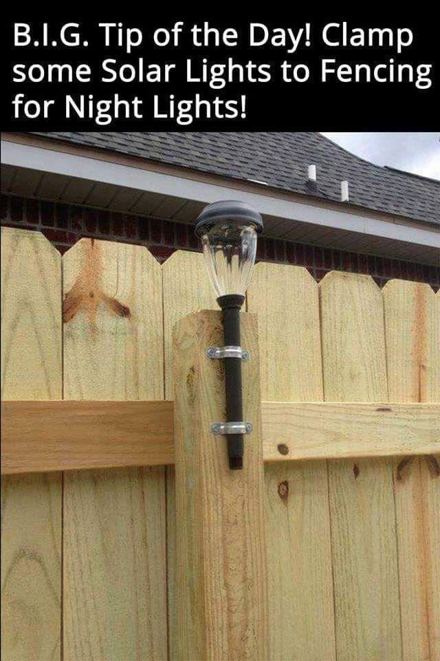 clamp solar lights to the fence for backyard lighting