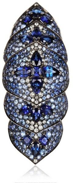 Blue Belle Epoque Ring --- 18kt Black rhodium plated white gold ring with black diamonds and sapphires, Stephen Webster | LBV ♥✤ | BeStayBeautiful