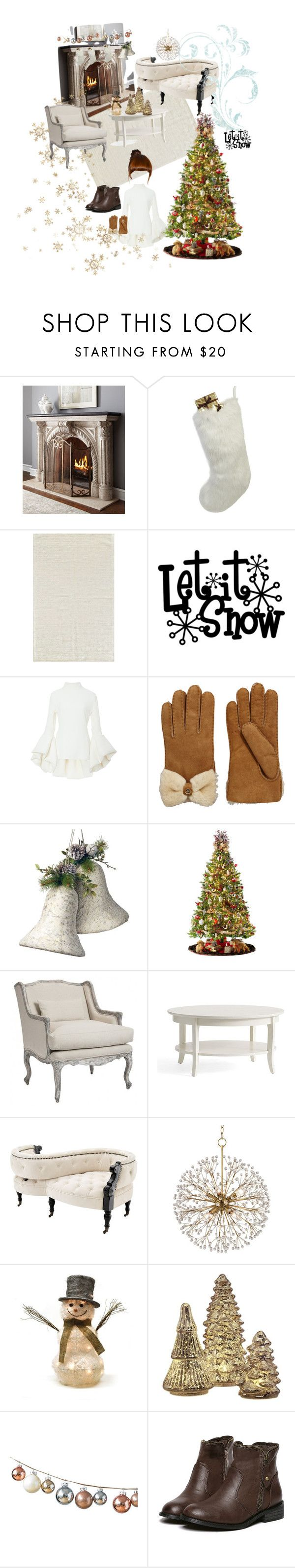 """""""Getting ready for the snow"""" by maryann-bunt-deile ❤ liked on Polyvore featuring Neiman Marcus, Helen Moore, Brandon Maxwell, UGG, National Tree Company, General Foam, Aidan Gray, Eichholtz, Hudson Valley Lighting and Shea's Wildflower"""