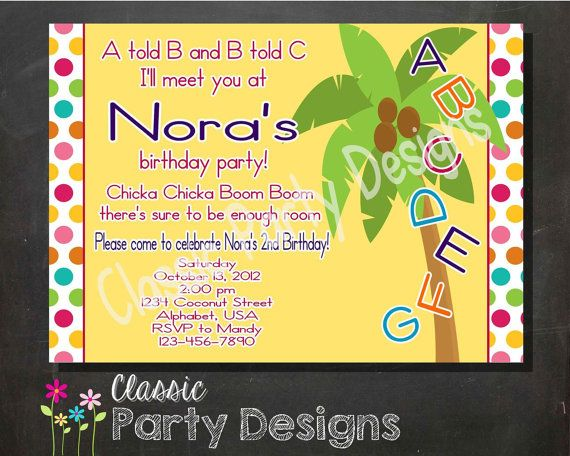 Alphabet Birthday Party Invitation  Chicka Chicka Boom Boom Inspired Digital by ClassicPartyDesigns, $7.00