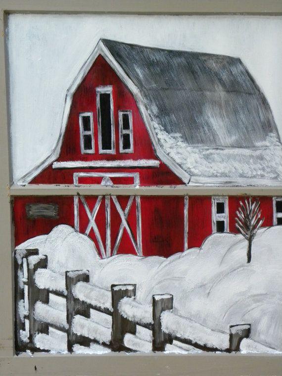 "Hand Painted Window Art Holiday Decoration ""Barn Snow Scene"" on Etsy, $55.00"