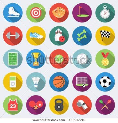 Set of sport icons in flat design with long shadows Part 1 - stock vector