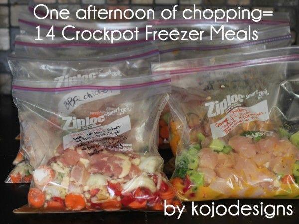 One afternoon of chopping = 14 Crockpot Freezer Meals | Money Saving Mom®