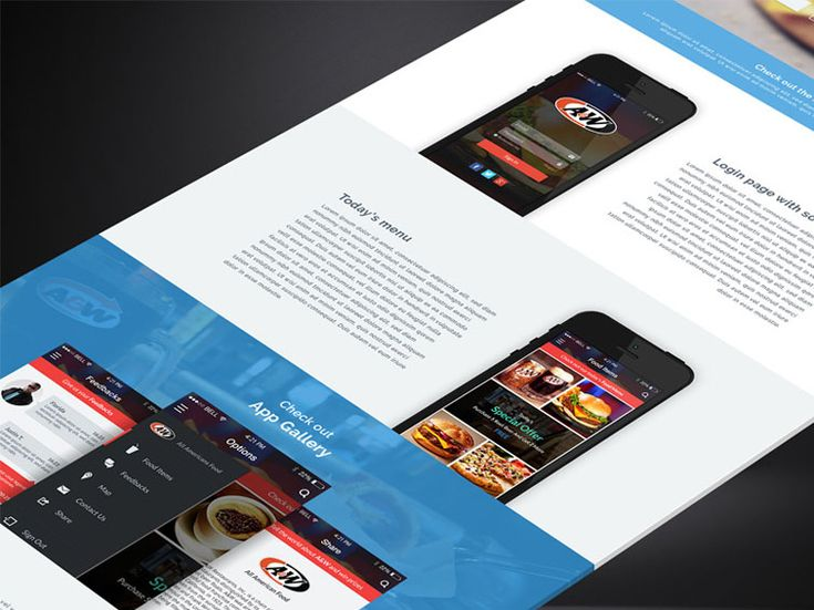 A&W Mobile App PSD Landing Page