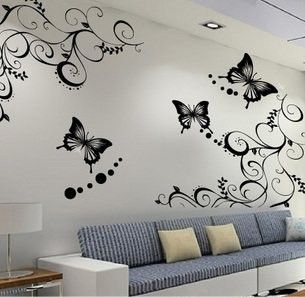 wall decal-plants flower with butterfly-modern wall sticker art Home Decors Graphic. $25.99, via Etsy.