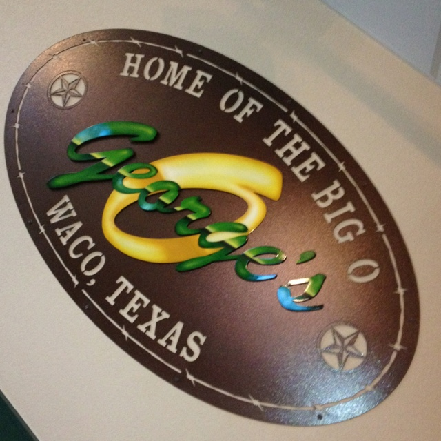A 6 ft sign I built for a landmark restaurant bar in Waco Texas. The center bolt in pieces were airbrushed by my buddy Von Otto. George's is a great place to hang out with friends and eat or drink beer. Thanks Sammy for letting me do your metal artwork! ~JDH Iron Designs www.starsovertexas.com email me: jimmydon@starsovertexas.com or call or text 254 749 2925