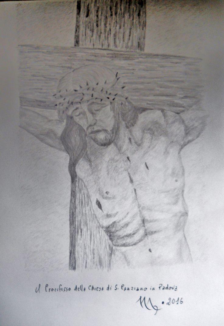 il Crocifisso della Chiesa di S. Canziano in Padova   disegno matita 9B su carta Fabriano A2