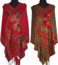Mulheres chinesas Pashmina e borboleta dupla face seda xale / envoltório do lenço vermelho / preto / roxo / azul(China (Mainland))