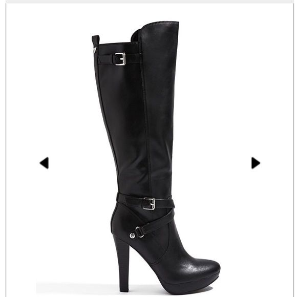 Black knee high boots Beautiful knee high boots. Worn only a few times. Minor scuffs and wear but overall amazing condition. 5 inches Shoes Heeled Boots