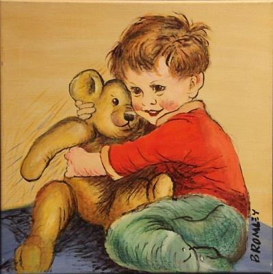 "DAVID BROMLEY ""Teddy Bear"" Original Acrylic on Canvas, Signed 40cm x 40cm"