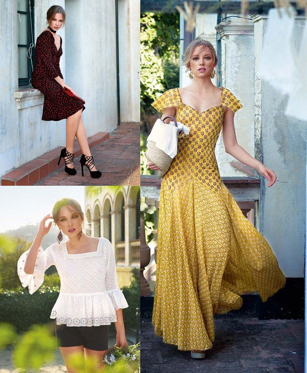 Love the mix of fabrics on the yellow dress