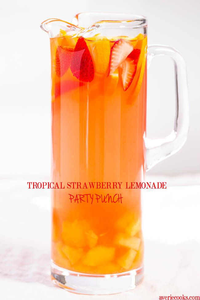 Tropical Strawberry Lemonade Party Punch - lots of ingredients but it can be made Virgin! So one for Kids and one for adults :)