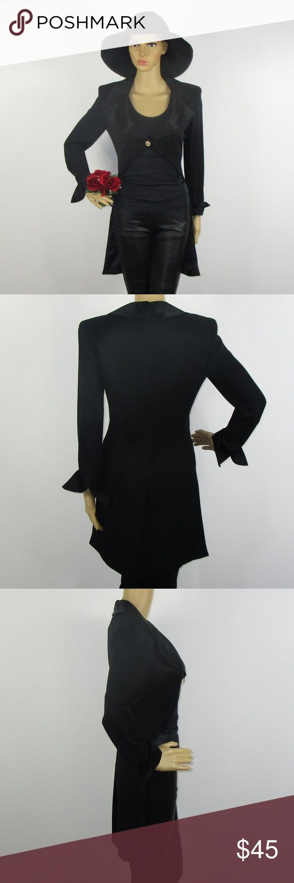 VTG 80s Miss Ashlee Black Tuxedo Top Unique Sz 4 This cute top is in excellent condition! As always offers and bundles are welcome. Feel free to add one or more items to a bundle for a private discount offer!!!  Armpit to armpit is 16.25 inches across Waist is 14.75 inches across Sleeve length is 20.5 inches  Length is 34 inches Miss Ashlee Tops