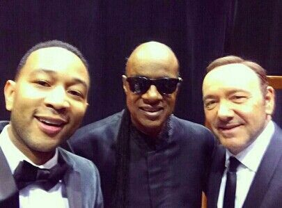 A legendary selfie - John Legend,  Stevie Wonder and Kevin Spacey.