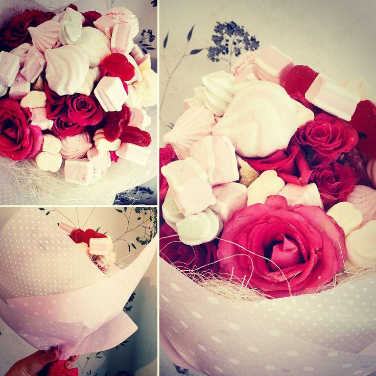Съедобный букет, сладкий букет, букет из сладостей, зефир, мармелад, розы, цветы, букет на день рождения
