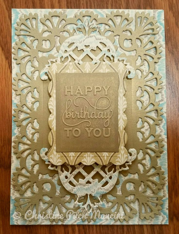 (Masculine colors) birthday card made from Anna Griffin Calisto cardstock and metallic gold cardstock, AG Festooned and Fretworks 2 cut and emboss dies, AG Mix and Match sentiment in Antique Pewter ink #AnnaGriffin #Cuttlebug #BirthdayCard #Male #Masculine #Handmade