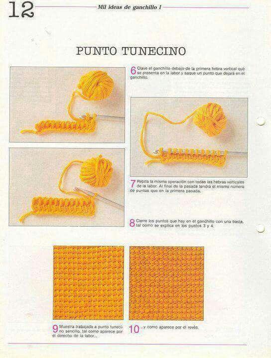 Mejores 7 imágenes de crochet tunecino en Pinterest | Crochet ...
