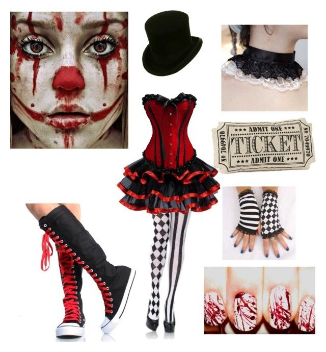"""Halloween costume idea #6 (Creepy Circus Girl)"" by shadow-cheshire ❤ liked on Polyvore featuring Leg Avenue"