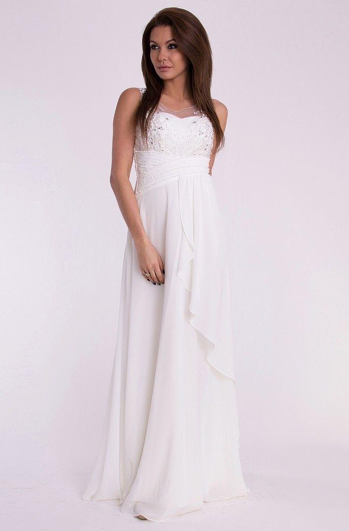 EVA&LOLA sukienka - kolor BIAŁY. Długa suknia wieczorowa, góra ozdobiona haftem i cekinami   #modadamska #moda #sukienka #suknia #sukienkiwieczorowe #sukienkinawesele #allettante