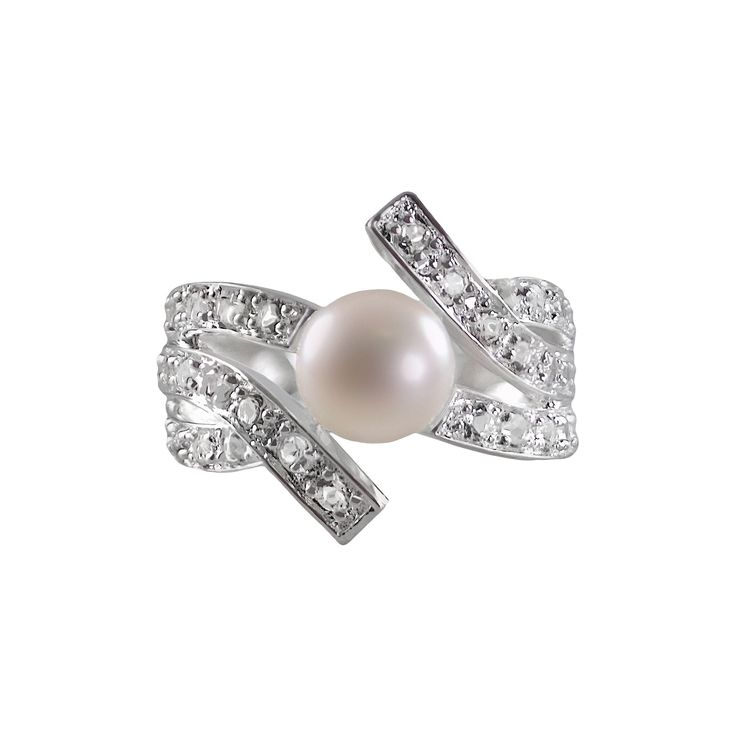 Sterling Silver White Topaz and Freshwater Cultured Pearl Bypass Ring, Women's, Size: 5